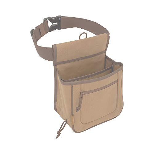 Allen Company Rival Double Compartment Shell Bag & 52 inch Waist Belt, Holds 50 Empty Hulls, Tan, Caramel Brown (Bags & Range_Trap & Skeet)