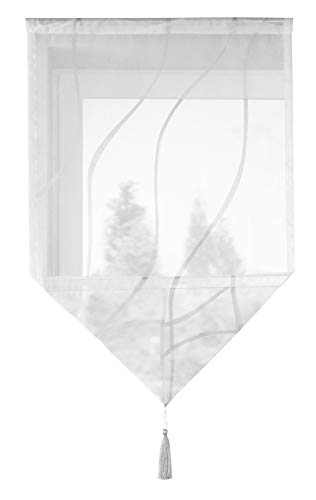 Shangrila Scheibenhänger Scheibengardine Dreieck Abschluss Bommel Tunneldurchzug »Artvin« HxB 90x60 cm Grau Beschwerungsplatte, 10000329