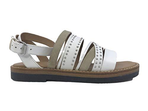 Janet E Janet 43009 Dafne - Sandalias de Mujer de Piel Blanca Blanco Size: 38 EU