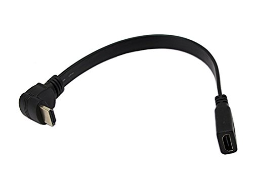 Cavo di prolunga HDMI, cavo di prolunga HDMI piatto sottile ad alta velocità CERRXIAN 1FT A femmina a 90 gradi verso il basso Un cavo maschio Male
