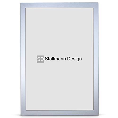 Stallmann Design Bilderrahmen New Modern 60x80 cm Silber Rahmen Fuer Dina 4 und 60 andere Formate Fotorahmen Wechselrahmen aus Holz MDF mehrere Farben wählbar Frame für Foto oder Bilder