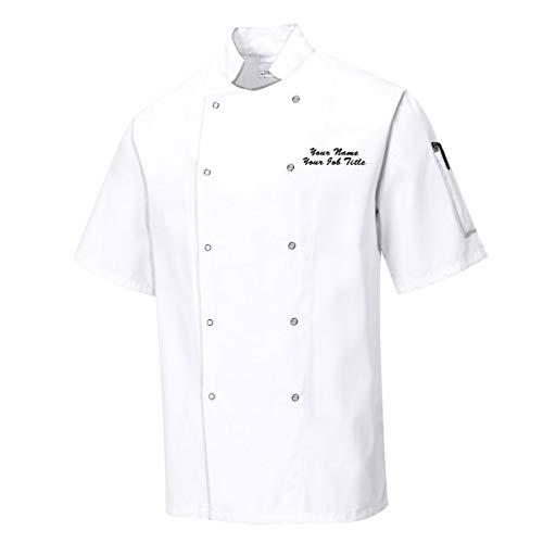Chaqueta de chef de manga corta personalizada unisex con nombre bordad