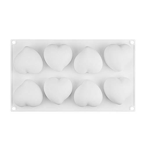 NEL Moldes de pastel de silicona, molde de mousse de pastel de cavidad de forma de corazón 3D 8, herramientas decorativas