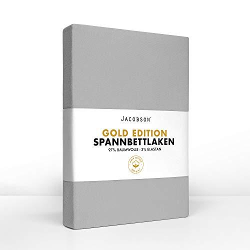 Jacobson Gold Edition Jersey Spannbettlaken Spannbetttuch Baumwolle mit ELASTAN ca. 200 g/m² (120x200 cm - 130x200 cm, Grau)