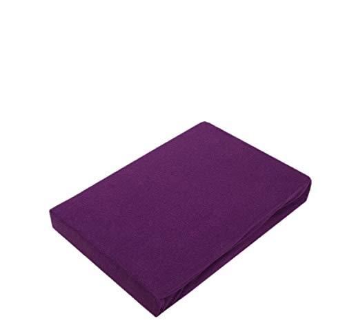 Exklusiv Heimtextil - Sábana bajera ajustable con goma elástica en todo el contorno, 100 % algodón, morado, 90 - 100 x 200 cm