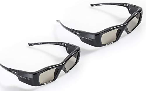 "2x Hi-SHOCK BT Pro ""Black Diamond"" | Smart 3D glasses for all active HD / 4K 3D TV 's by Sony, Samsung, Panasonic, Sharp, Toshiba, LG Plasma, Hisense (2012-2018*) | compatible with TDG-BT500A / SSG-3570CR / TY-ER3D4MU / AN3DG35 / FPT-AG04 / AG-S350 / FPS3D08 | incl. accessories + 3 years warranty [120 Hz | active shutter | rechargeable | 32g | Bluetooth | black]"