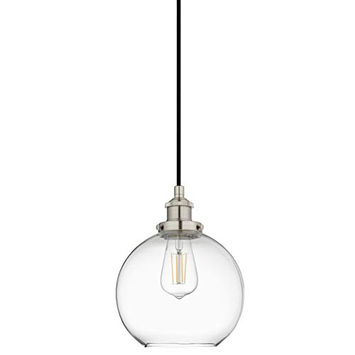 Primo Large Glass Globe Pendant Light Fixture - Brushed Nickel Hanging Pendant Lighting for Kitchen Island - Mid Century Modern Ceiling Light with Clear Glass Shade