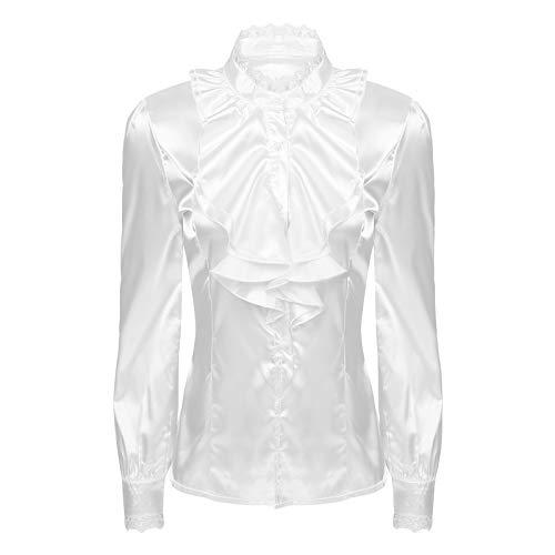 Agoky Damen Langarm Freizeit Satin Bluse Hemd mit Kentkragen Elegant Shirts Glanz Party Clubwear Weiß Spitze Rüschen 3XL