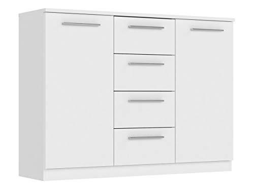Mirjan24 Kommode mit Schubladen Surrey, Anrichte, Diele, Flur, Highboard, Praktischer Schubladenkommode, Mehrzweckschrank, Sideboard, Wohnzimmer, Esszimmer (Weiß, Modell: 2D4S)