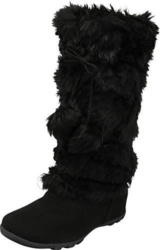 Cambridge Select Women's Faux Fur Pom-Pom Crisscross Tie Flat Mid-Calf Boot,8.5 B(M) US,Black