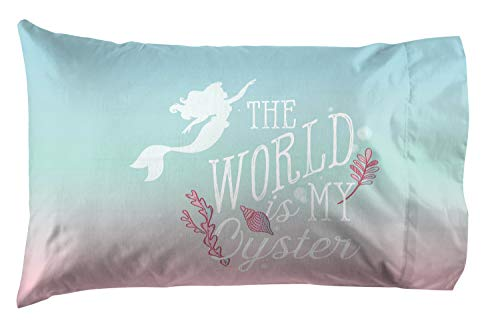 Jay Franco Disney The Little Mermaid Rainbow 1 Pack Pillowcase - Double Sided Kids Super Soft Bedding (Official Disney Product)