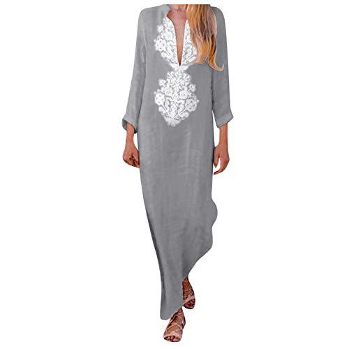 Lalaluka Vestido largo de verano para mujer, elegante escote en V, maxivestido, floral, playa, cóctel, bohemio. gris S