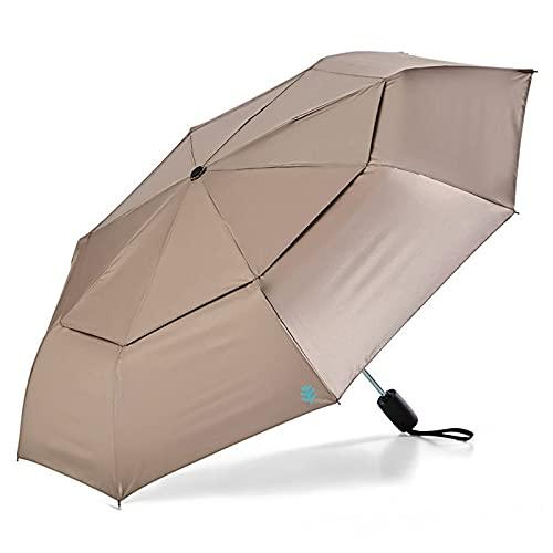 Overlord Paraguas ultravioleta plegable paraguas paraguas paraguas sombrilla bar dos usos UPF50 + (color: doble capa dorada)