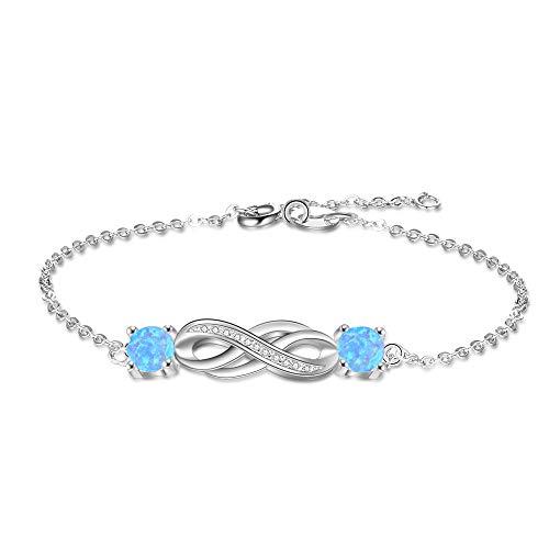 Yazilind 925 Sterling Silber Unendlich Herz Einstellbar Frauen Armbänder mit Saphiren Schmuck für Frauen Geschenke für Sie