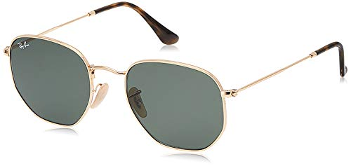 Ray-Ban RB3548N Flat Lens Hexagonal Sunglasses, Gold/Green, 54 mm
