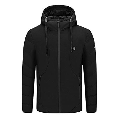 LGDD Mens Winter Heating and Warm Jacket, USB Charging, 3-Speed Temperature Control, 5 Heating Areas Coverage, Low Pressure and Safer, Washable, Suitable for Winter Indoor/Outdoor Activities Black