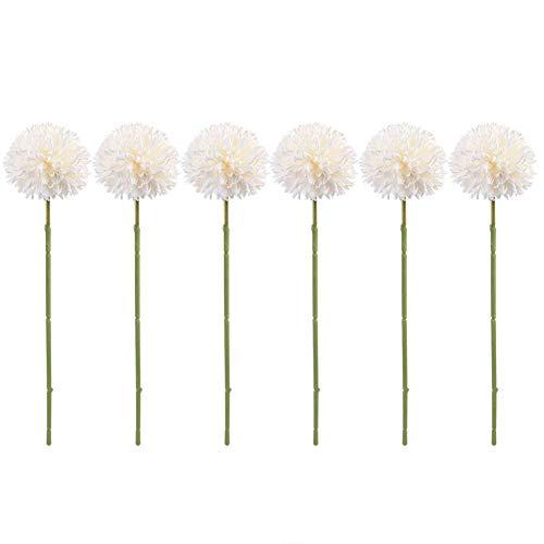 Zerone 6Pcs Artificial Silk Flower Beauty Fake Dandelion Ball for Home Room Wedding Decor