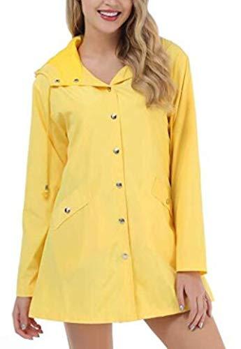 Lichtgewicht regenjas met capuchon, waterdicht, actief outdoor lang regenjack voor dames, geel S