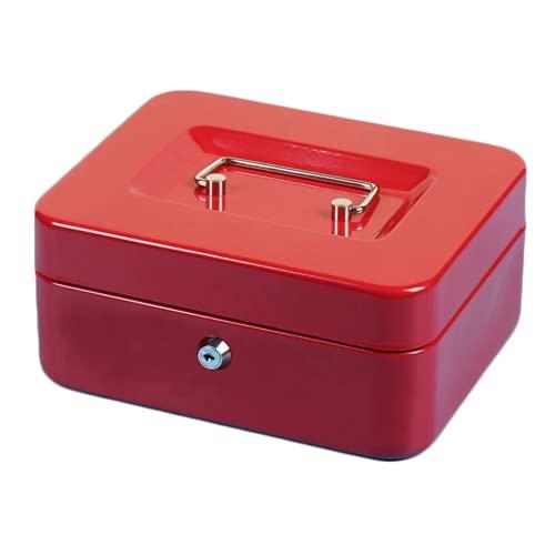 Caja de dinero con cerradura de llave, ortable caja de dinero de metal con doble capa para el hogar caja de metal portátil de acero de seguridad de estaño seguro llave pequeña con cerradura (M,rojo)