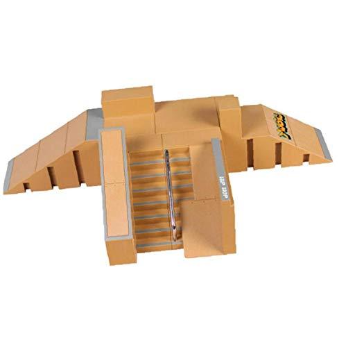 TOPofly Finger-Spielzeug-Skateboard, Mini Finger Skate Park Kit Ramp Teile mit dem Finger Boards für Finger Skateboard Ultimative Parks Trainings Props 1 Set