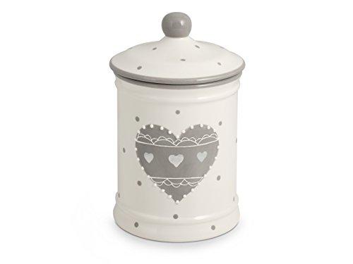 H&H cœur Gris Boîte à Biscuits en céramique, Lt 2.2, céramique, Blanc et Gris, 16 x 16 x 23 cm