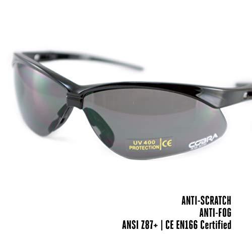 Cobra Taktische Airsoft Brille | Antibeschlag Schießbrille | Schutzbrille | Arbeits- und Schussbrillen, graue Gläser | die Beste Schutzbrille für Männer und Frauen