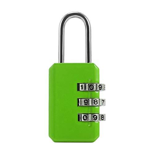 Reajustable 3 Llamar número de combinación de la Maleta del Equipaje del Bolso Mochila cajón de contraseña del candado de Seguridad del hogar del Recorrido Bloqueo numérico 1PC (Color : Green)