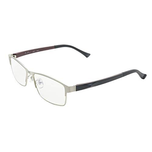 PrePiar 老眼鏡 おしゃれ コンパクト ブルーライトカット UVカット 携帯用 軽量 メンズ 3ヶ月保証 シルバー 2.5