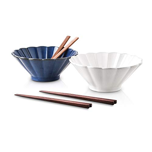 Selamica Ceramic Vintage Japanese Ramen Noodle Soup Bowl - 40 Ounces, 2 Sets(6 pieces), with Matching Spoons and Chopsticks, White+Blue