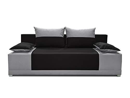 Schlafsofa Vera - Kippsofa Sofa mit Schlaffunktion Klappsofa Bettfunktion mit Bettkasten Couchgarnitur Couch Sofagarnitur (Schwarz + Grau (Neo 15 + Neo 31))