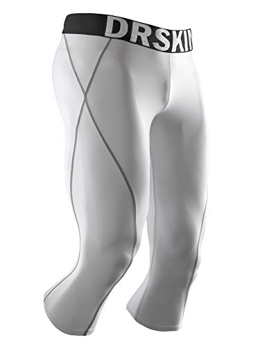 DRSKIN 1~3 Pack Men's 3/4 Compression Tight Pants Base Under Layer Running Shorts Cool Dry (Packs of 1, 2, or 3 Deals) (WG806, L)
