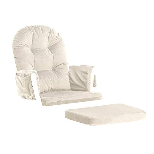 Apelila Glider Rocker Replacement Cushions Cover Set Velvet for Nursery Chair and Footstool Padded Hugging Cushions with Storage Pocket (Beige)
