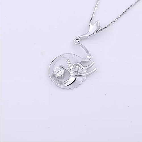 925 Sterling Silver Crystal Flying Dragon Necklaces for Women Round Dragon Pendants Jewelry Gifts