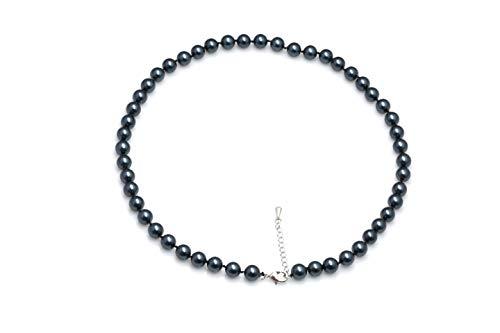 Schmuckwilly Muschelkernperlen Perlenkette Perlen Collier - schwarz Hochwertige Damen Muschelkernperlen Kette aus echter Muschel 45cm 8mm mk8mm111-45