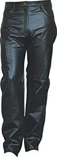 Women's Heavy duty and Soft Black Aniline Cowhide Leather Motorcycle Biker 501 Jean-Style Pants