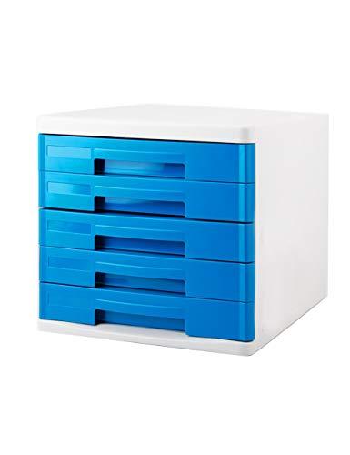 Archivadores Gabinete de archivos de escritorio de oficina A4 Cajón de gabinete de datos de plástico Gabinete de escritorio Gabinete de almacenamiento de archivos Caja de almacenamiento (Diseño: 5 caj