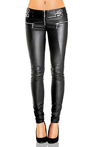 Danaest Damen Kunstlederhose Skinny (Röhre No: 245), Grösse:36 / S, Farbe:Schwarz
