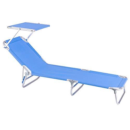 Tumbona Playa Cama con Parasol de 3 Posiciones de Aluminio y textileno de 190x58x25 cm (Azul)