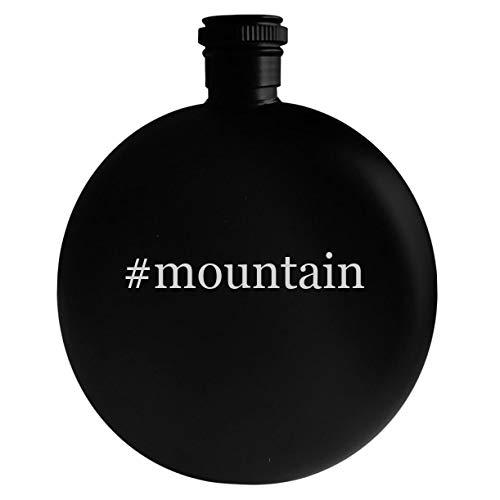 #mountain - 5oz Hashtag Round Alcohol Drinking Flask, Black