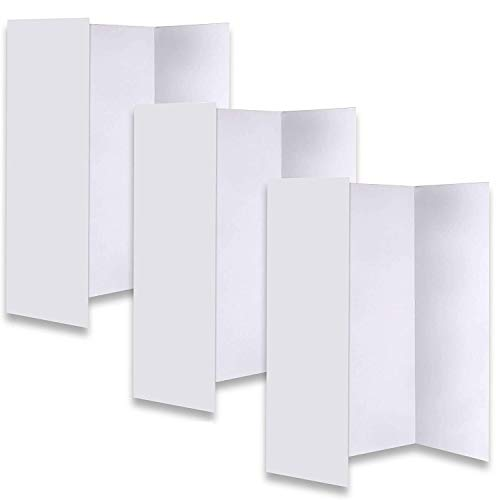 JJ CARE [New & Improved] White Trifold Presentation Board - Trifold Poster Board [Set of 3] Heavy-Duty Corrugated Cardboard Poster for Art Projects, Science Fair Trifold Board