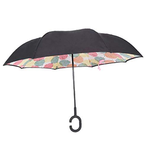 IPOTCH Inverted Stockschirme, Sturmfest Regenschirm, Umgedrehter Regenschirm mit C Griff, Double Layer Schirme 125cm für zwei Personen - Ahornblatt