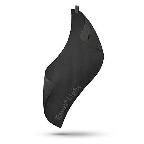 STRYVE TOWELL+Light (All Black) Sporthandtuch aus Microfaser, Fitnesshandtuch mit Tasche und Rutschschutz