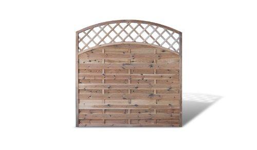 Zaundiscount 6 x Sichtschutzzaun + Gartenzaun mit Doppelbogen + Rankgitter Maß 180 x 180 auf 160 cm (Breite x Höhe) aus Kiefer / Fichte Holz, druckimprägniert