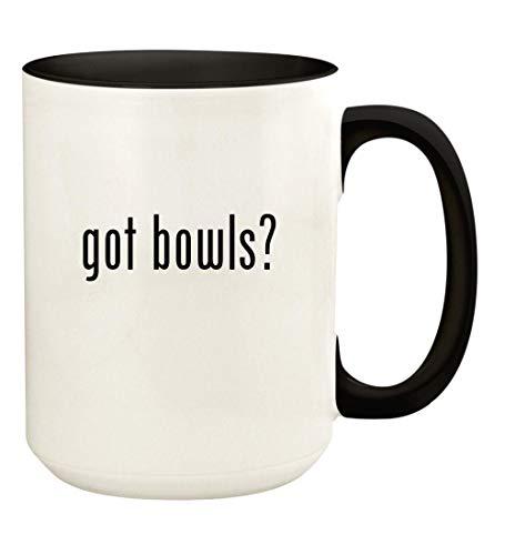 got bowls? - 15oz Ceramic Colored Handle and Inside Coffee Mug Cup, Black