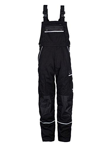TMG® Arbeitslatzhose Herren, Lange Arbeitshose mit Latz und Kniepolstertaschen Schwarz 54