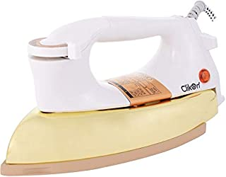 Clikon - Heavy Dry Iron, Braided Cable, Ceramic Oil Coated Soleplate, Adjustable Temperature Knob, Gold Coated Body Desig...