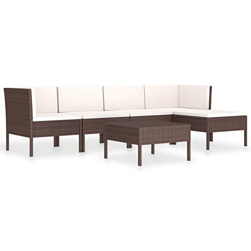 Tidyard Set Muebles de Jardín 6 pzas y Cojines Conjuntos de Sofá de Jardín de Ratán Sintético Marrón y Blanco Crema