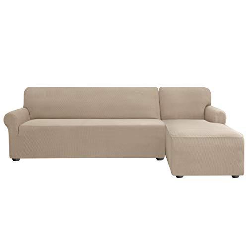 subrtex Sofabezug L Form Stretch Sofahusse Ecksofa Elastisch Antirutsch Eckcouch überwurf Weich Stoff Abwaschbar (Rechts 2 Sitzer, Sand)