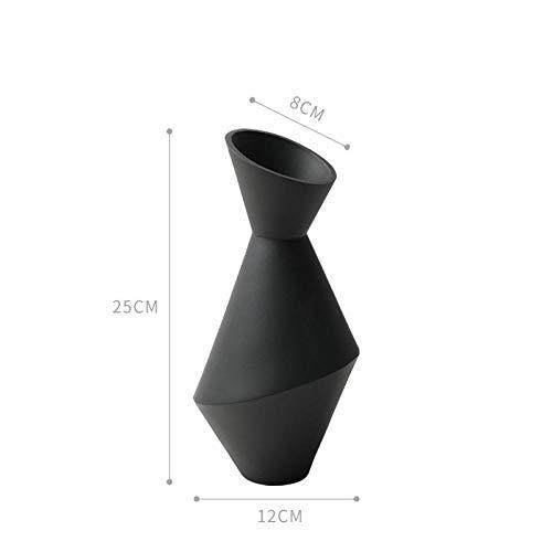 Vase 34Cm Keramik Geometrische Blumenvase Figuren Kreative Abstrakte Handwerk Weiche Dekoration Home Decor Ornament Schwarz