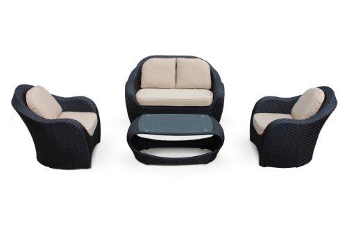 Hot Sale Penia 4 Piece Sofa Conversation Set By Luxus Outdoor Patio Furniture Set Garden Table Chairs Wicker Garden Home Backyard Porch Lounge